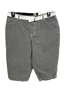 Croft & Barrow stretch women's city shorts belted plaid size 12