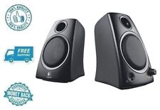 New Black Logitech 2.0 Computer Speakers Compact PC Desktop Stereo Sound System