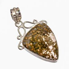 Ocean Jasper Natural Gemstone Silver Plated Jewelry Pendant 2.26""