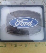 Ford pickup truck Western Silver & Blue pewter Enamel Belt Buckle New Spec Cast