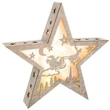 Extra Large LED Wooden Star with Santa, Sleigh & Reindeer Night Before Christmas