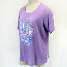 Catherines Plus Size Purple Crew Neck Shimmer Sea Print Top 3X, 26/28 W Summer