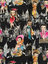 """Betty Boop Fabric 100% Cotton 36"""" X 44"""" Betty Boop Takes New York W/ Pudgy ��!!!"""
