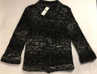 NWT Eileen Fisher Sz Xs Mohair Wool Blend Snap Cardigan Sweater 3/4 sleeves Gray