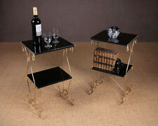 Pair of Brass & Ebonised Two Tier Side Tables c.1960.