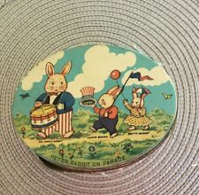Peter Rabbit On Parade Candy Tin Circa 1920, Along With Antique Hen and Rooster.