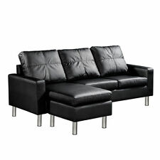 PU Leather Sofa Bed Modular Lounge Suite Chaise Double Couch 4 Seater Black
