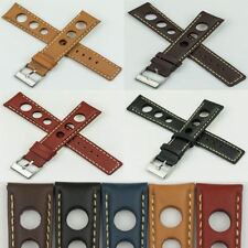 Mens Rally Racing Sports Genuine Calf Leather stitched Watch Strap Band Buckle