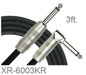 "3ft. Kirlin 1/4"" Mono Straight/Right-Angle Male/Male Instrument Cable, OFC 20AWG"