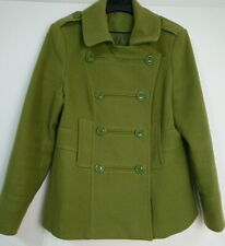 F&F Olive Green Military Style Dbl Breasted Jacket Coat size 14 Spring