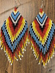 "Native American Style 4"" Beaded Earrings"