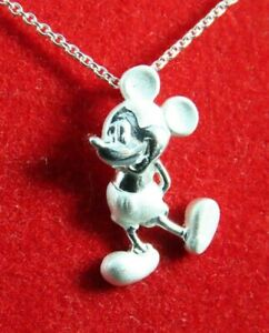 """New DISNEY STERLING SILVER Chain Necklace MICKEY MOUSE PENDANT CHARM 18""""Long"""