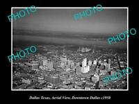 OLD LARGE HISTORIC PHOTO OF DALLAS TEXAS, AERIAL VIEW OF THE CITY c1950 2
