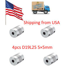 OD 19x25mm 4pcs 5x5mm CNC Motor Jaw Shaft Coupler 5mm To 5mm Flexible Coupling