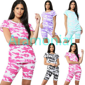 Women Ladies Tie Dye Print Cycling Short 2 piece Top Coord Set Tracksuit Casual