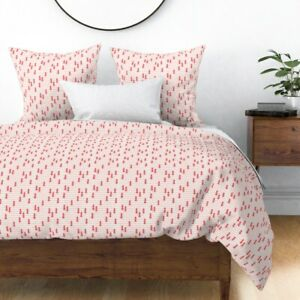 Holiday Christmas Trees Red And Pink Baby Girl Sateen Duvet Cover by Roostery