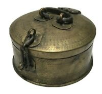 Brass Container Round with Hinged Lid Handle and Latch Vintage