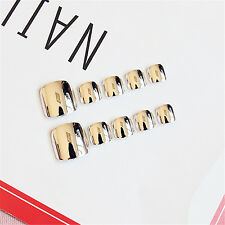 24pcs Metal Color Short Square False Nails Full Tips Acrylic Nail Art with Box
