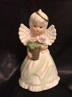Vintage December Birthday Angel Porcelain Figurine Halo Is Crooked So Adorable