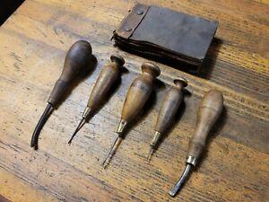 ANTIQUE Tools RARE Vintage Leather Work Tools VINTAGE Leatherwork Tools & Pad US