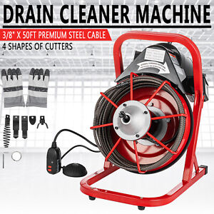 """Commercial 50FT 3/8"""" Electric Drain Auger Drain Cleaner Machine Snake w/ Cutter"""