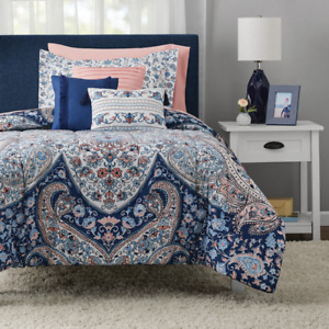 Gypsy Medallion 10-Piece Bedding Set Sheet Set Pillows King Size Bohemian Blue