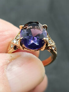 gorgeous 18ct yellow gold filled antique style amethyst  gemstone ring size 8 us