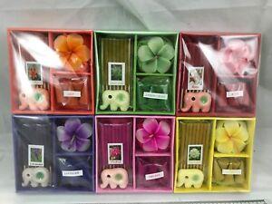 6 x Mini Incense Sticks & Cones Assorted Elephant Ceramic Holder Thai Box Set UK