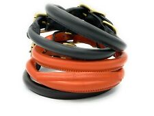 Stallion Dog Leather Collar Round Rolled *Hand Made* in 3 Colours in 4 Sizes