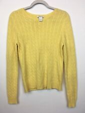 Tweeds Womens 100% Cashmere Knit Sweater, Yellow Size L A18