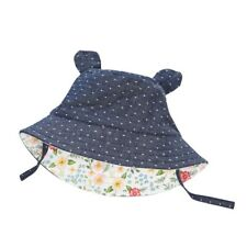 Mud Pie E7 Summer Baby Girl 0-18 mo Chambray Bear Floral Sun Hat 1502261-IN