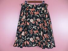 SK06527- JONES NEW YORK Woman Rayon 9% Wool Paneled Flared Skirt Floral Sz 14W