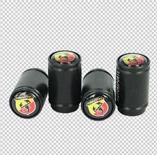 4pc Motorsport FIAT Abarth Logo Black Tire Air Valve Caps Screw Caps