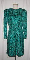 Maggy London Vintage Green & Black Paisley-Like Print Silk Long Sleeve Dress 12