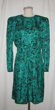 Maggy London Vintage Green & Black Paisley-Like Print Silk Long Sleeve Dress 12