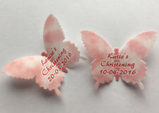 15 Personalised Pink Christening Wafer Paper Butterflies Cupcake Cake Toppers