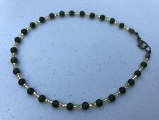 Handmade Ankle Bracelet of Deep Green Round Stones and Gold Czech Seed Beads