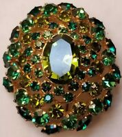 Vintage Austrian BROOCH Pin Jewelry Green Rhinestones Gold Tone Mid Century