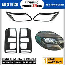 Black Headlight Taillight Surrounds Lamp Covers for Holden Colorado RG 2016-2018
