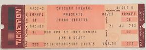 Frank Sinatra Concert Ticket Stub (April 22, 1987, Chicago Theatre)