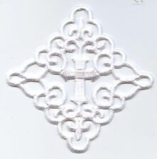 White Cross - Ornate Fleur de lis in Square - Iron on Applique/Embroidered Patch