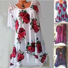 Women Sleeveless Summer Boho Printed Beach Casual Loose Mini Shirt Beach Dress A