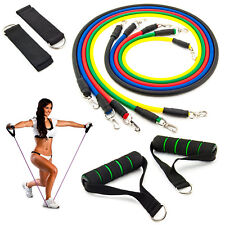Expander-Set 11-tlg. Fitnessband Gymnastik Latex Band Kraft Trainings Seile Tube