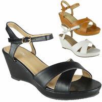 Women Wedge Sandals Ladies Ankle Strap Sandals Peep Toe Sandals