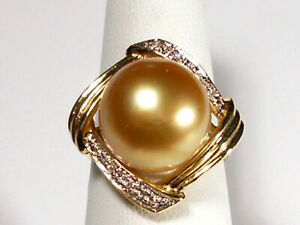 13mm golden South Sea pearl ring, diamonds, solid 14k yellow gold.