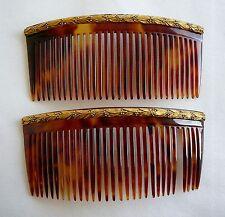 ANCIEN 2 Peigne ecaille or Victorian Tortoishell Gold comb Kamm Peine ANTIQUE