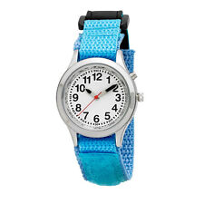 Ladies / Kids Talking Alarm Watch: Light Blue Fabric Strap Band, Choice of Voice