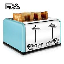 4 Slice Toaster Electric Retro Vintage Wide Slots Bread Browning Settings TOBOX
