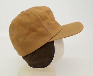 Duck Canvas Hunting Hat Cap Medium Ear Flap Insulated Vtg Brown