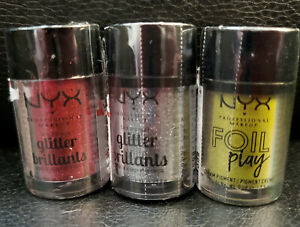 NYX Foil Play Happy Hippie & 2 NYX Glitter Brilliants, Red and Silver .08oz NEW